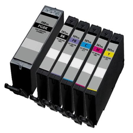 Compatible Canon PGI-580PGBKXXL / CLI-581BK/C/M/Y/PB XXL set of 6 Ink Cartridges
