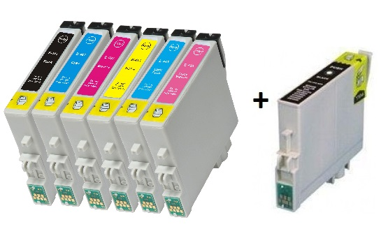Compatible Epson T0481/T0482/T0483/T0484/T0485/T0486 a  Set of 6 + EXTRA BLACK Cartridges