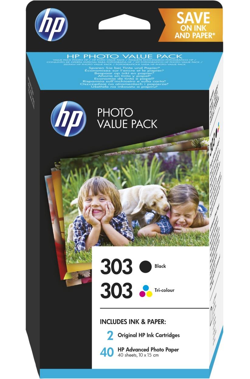 HP Original 303 Black & Colour Inkjet Cartridge Multipack With Photo Paper - (Z4B62EE)