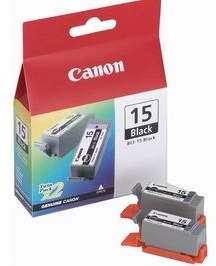 Original Canon BCI-15BK Black Ink cartridges Twin pack (8190A002) (Pack Of 2)