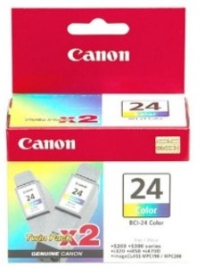 Original Canon BCI-24C Colour Ink Cartridge Twin Pack (6882A009)