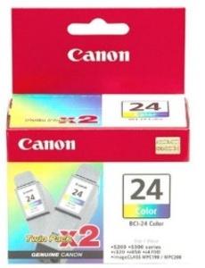 Original Canon BCI-24C Colour Ink Cartridge Twin Pack (6882A009)