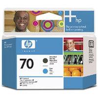 Original HP Printhead 70 Matte Black and Cyan Printhead