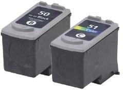Remanufactured Canon PG-50 Black and CL-51 Colour High Capacity Ink cartridges
