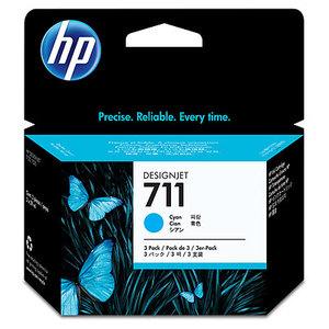 Original HP 711 Cyan Ink Cartridge (CZ134A) Pack Of 3