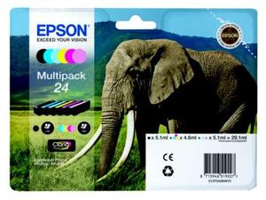 Original Epson 24 a set of 6 Ink Cartridges Multipack ( (T2428) (Black,Cyan,Magenta,Yellow,Light Cyan,Light Magenta)