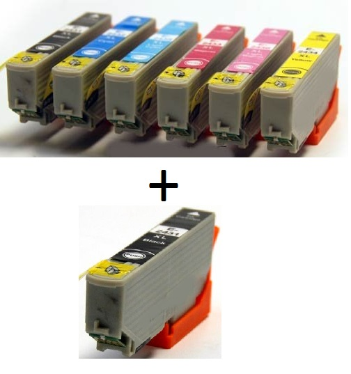 Compatible Epson 24XL a full Set of 6 Ink cartridges High Capacity T2431/T2432/T2433/T2434/T2435/T2436 + EXTRA BLACK