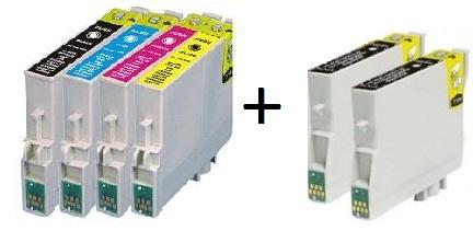 Compatible Epson T0551/T0552/T0553/T0554 a Set of 4 Cartridges + 2 EXTRA BLACK