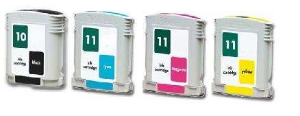 Compatible HP 10/11 a set of 4 Ink cartridges (Black/Cyan/Magenta/Yellow)