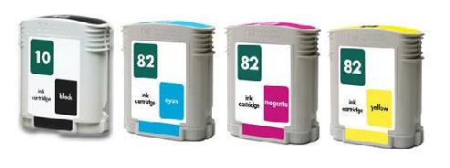 Compatible HP 10/82 a Set of 4 Ink cartridges