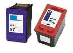 Remanufactured HP 58 (C6658AE) High Capacity Photo and HP 57 (C6657Ae) High Capacity Colou Ink cartridge