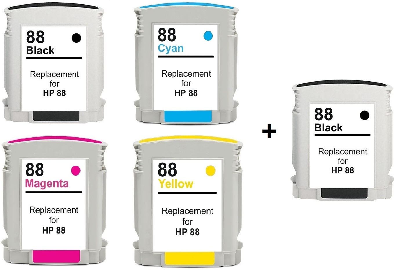 Compatible HP HP 88XL a Set Of 4 Ink Cartridges + EXTRA BLACK