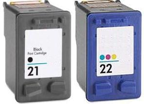 Remanufactured HP 21 (C9351AE) High Capacity Black and HP 22 (C9352AE) High Capacity Colour Remanufactured Compatible Ink Cartridges (Has 3 x More Ink Than The Originals)
