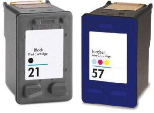 Remanufactured HP 21 Black and HP 57 Colour Ink cartridges