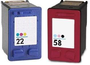 Remanufactured HP 58 (C6658AE) High Capacity Photo and HP 22 (C9352AE) High Capacity colour Ink cartridges