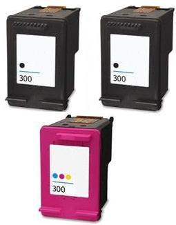 Remanufactured HP 300 Black (CC640EE) and 300 Colour Ink Cartridges + EXTRA BLACKHigh Capacity (CC643EE)