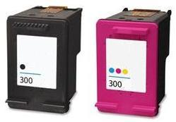 Remanufactured HP 300 Black (CC640EE) and 300 Colour (CC643EE) High Capacity Ink cartridges