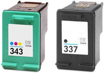 Remanufactured HP 337 (C9364EE)High Capacity Black and HP 343 (C8766EE) High Capacity Colour Ink cartridges