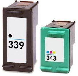Remanufactured HP 339 (C8767EE) High Capacity Black and HP 343 (C8766EE) High Capacity Colour Ink cartridges