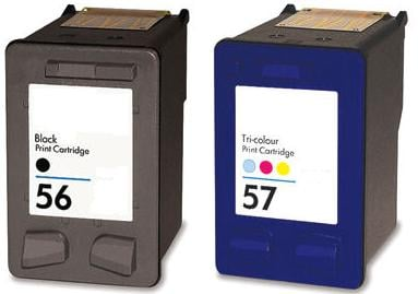 Remanufactured HP 56 black and HP 57 colour Ink cartridges