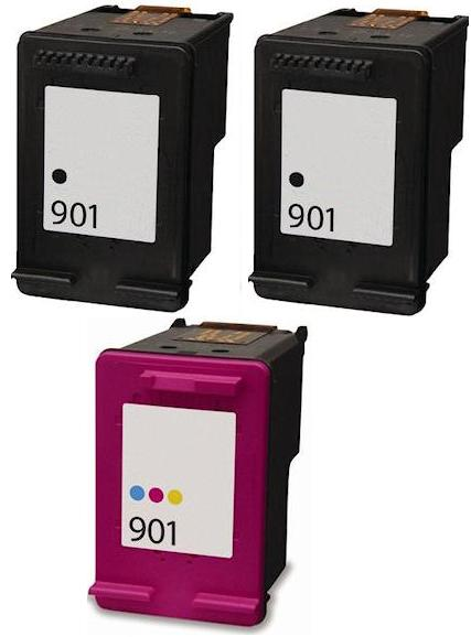 Remanufactured HP 901 Black (CC653aa) and 901 Colour (CC656aa) High Capacity Ink Cartridges + EXTRA BLACK
