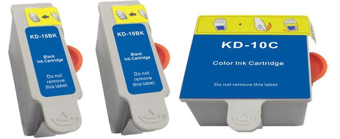 Compatible Kodak 10 Black and Colour Ink Cartridges + EXTRA BLACK