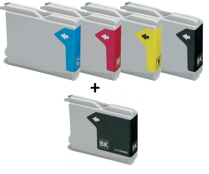 Compatible Brother LC1000/LC51 Set of 4 Ink Cartridges + EXTRA BLACK