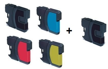 Compatible Brother LC1100 Set of 4 Ink Cartridges + EXTRA BLACK