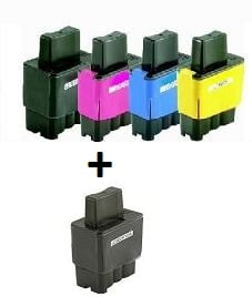 Compatible Brother LC900/LC41 Set of 4 Ink Cartridges + EXTRA BLACK