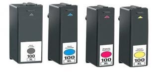 Compatible Lexmark 100XL's a Set of 4 Ink cartridges High Capacity Black/Cyan/Magenta/Yellow