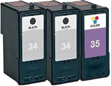 Remanufactured Lexmark 34 (18C0034e) and 35 (18C0035e) Cartridges + EXTRA BLACK High Capacity