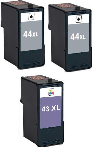 Remanufactured Lexmark 43XL (18Y0143e) and 44XL (18Y0144E) Ink Cartridges + EXTRA BLACK