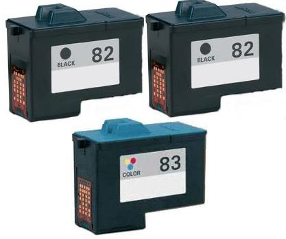 Remanufactured Lexmark 82 Black and 83 Colour Ink Cartridges + EXTRA BLACK High Capacity