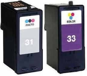 Remanufactured Lexmark 31 (18C0031) Photo and Lexmark 33 (18C0033)colour Ink cartridges High Capacity
