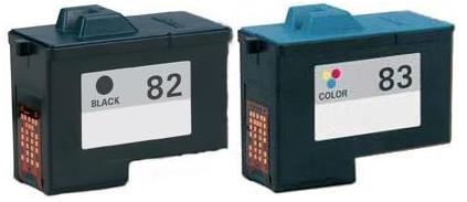 Remanufactured Lexmark 82 Black (18L0032) and Lexmark 83 Colour (18L0042) Ink cartridges High Capacity