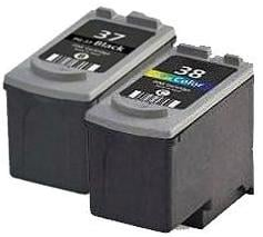 Remanufactured Canon PG-37 Black and CL-38 Colour Ink cartridges