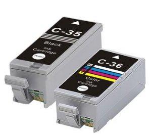 Compatible Canon PGI-35BK Black and CLI-36 Colour Ink Cartridges