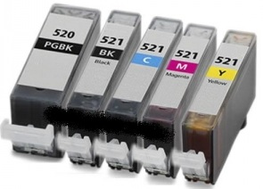 Compatible Canon PGI-520, CLI-521BK CLI-521C CLI-521M CLI-521Y set of 4 Ink Cartridges