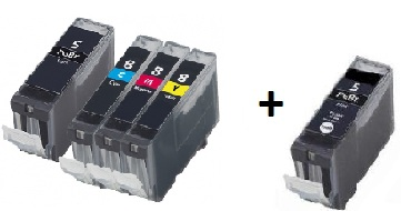 Compatible Canon PGI-5 and CLI-8 CMY a Set of 4 Cartridges + EXTRA BLACK