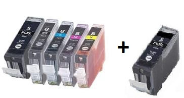 Compatible Canon PGI-5 and CLI-8 a Set of 5 Cartridges + EXTRA BLACK