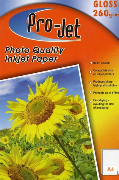 Projet A4 High Glossy Inkjet Paper 260g 40 sheets