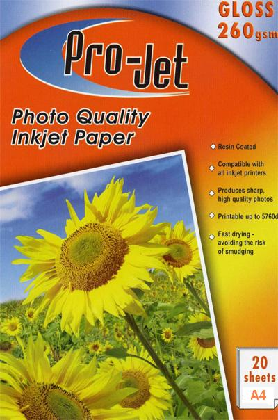 Projet A4 High Glossy Inkjet Paper 260g 20 sheets