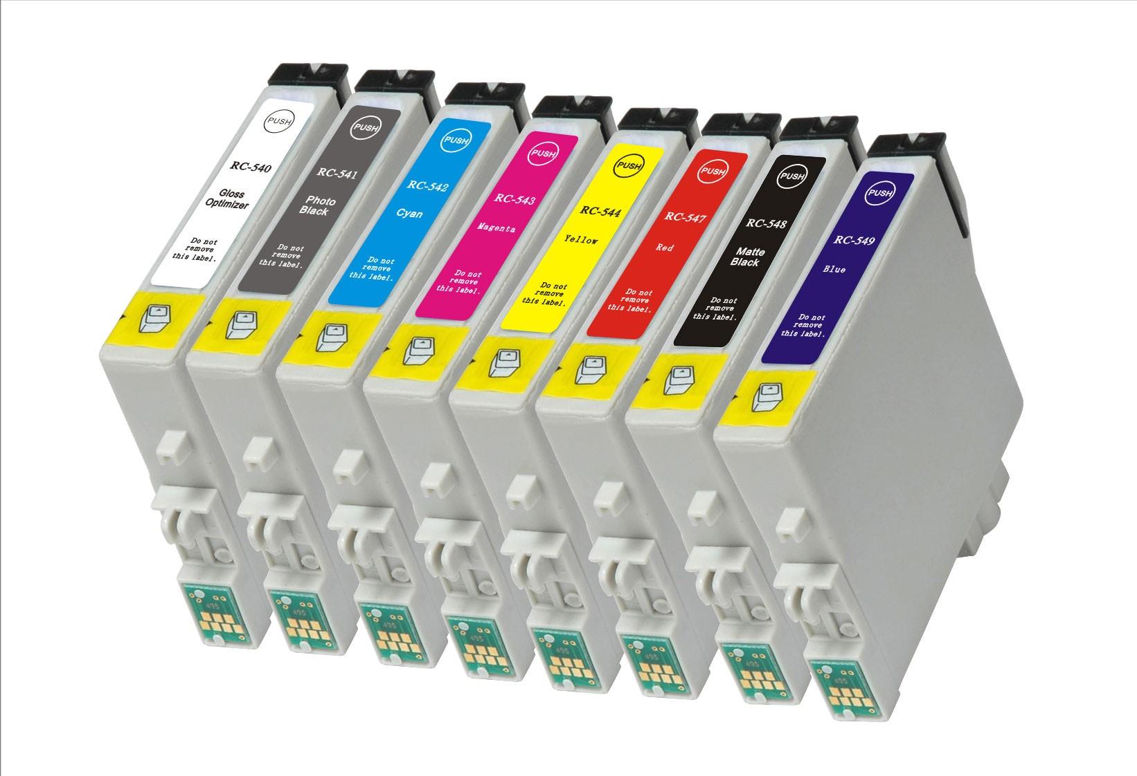 Compatible Epson T0540/T0541/T0542/T0543/T0544/T0547/T0548/T0549 a Set of 8  Ink cartridges