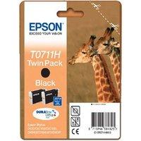 Original Epson T0711H Black Ink Cartridge Twin Pack (C13T07114010