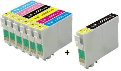 Compatible Epson T0801/T0802/T0803/T0804/T0805/T0806 a  Set of 6 + EXTRA BLACK