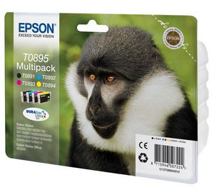 Original Epson T0895 a set of 4 Ink Cartridge Multipack. Contains Black/Cyan/Magenta/Yellow