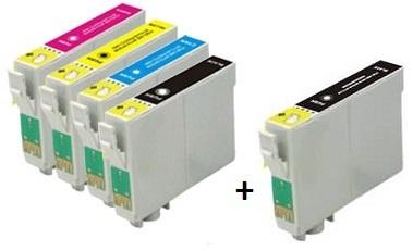 Compatible Epson T1281/T1282/T1283/T1284 a Set of 4 Cartridges + EXTRA BLACK