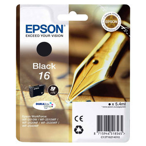 Original Epson 16 Black Ink Cartridge (T1621) (Series 16)