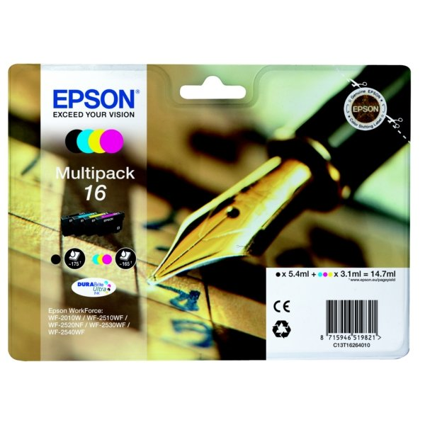 Original Epson 16 Ink Cartridge Multipack (T1626) (Black,Cyan,Magenta,Yellow)
