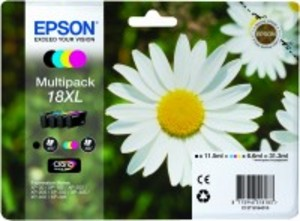 Original Epson 18XL a set of 4 Colour cartridges Multipack High Capacity (T1816) (Black,Cyan,Magenta,Yellow) (C13T18164010)